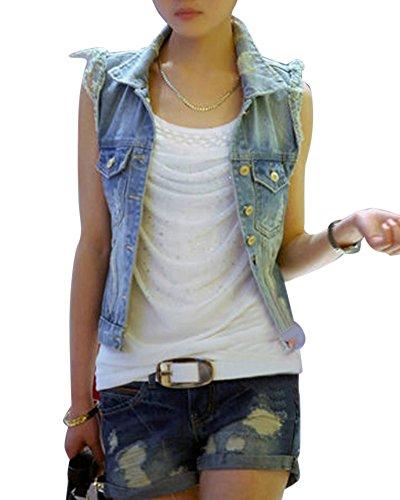 Quge Giacca Jeans Donna Slim Fit Gilet Senza Maniche Giubbotto Giubbino Cardigan di Jean S