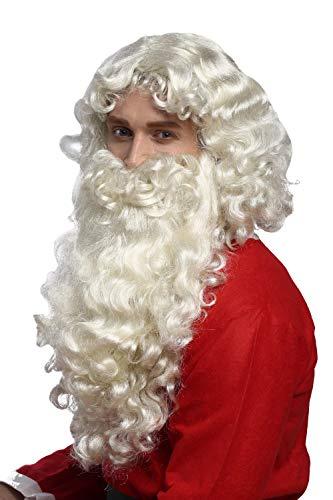 WIG ME UP - 46-A+B-ZA613 Perücke und Bart Set Deluxe Weihnachtsmann Santa Claus Nikolaus Ruprecht Gott Hellblond (Kostüm Mit Blonden Haaren)