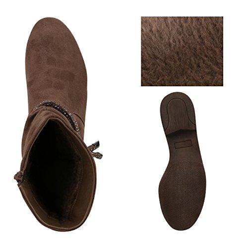 Gefütterte Klassische Damen Stiefeletten Strass Metallic Boots Khaki