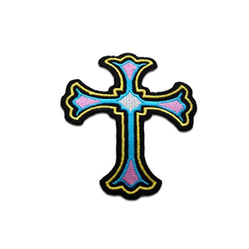 Aufnäher/Bügelbild - Kreuz Christuskreuz Religion - bunt - 7,7x6,2cm - Patch Aufbügler Applikationen zum aufbügeln Applikation Patches Flicken