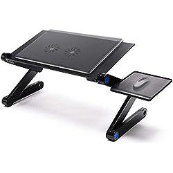 Table pliante simple HJCA Support for ordinateur portable ergonomique réglable for ordinateur portable/Support for ordinateur portable avec un panneau for souris et un ventilateur (2x) de refroidiss
