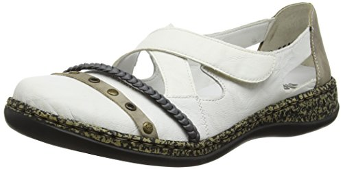 Rieker - 463a6 Women Closed Toe, Ballerine Donna Bianco (Weiß (weiss/elefant/jeans / 81))