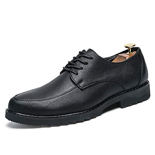 Apragaz Männer Plain Lederschuhe Lace Up Oxfords runde Zehe perforierte Klassische Moderne Italien Formale Schuhe (Color : Schwarz, Größe : 41 EU) - Perforierte Leder-plattform