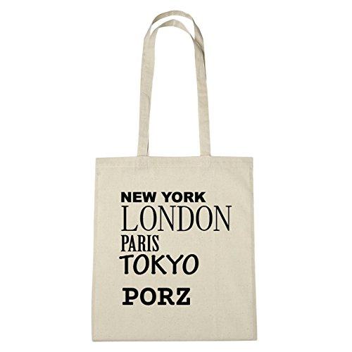 JOllify Porz di cotone felpato B258 schwarz: New York, London, Paris, Tokyo natur: New York, London, Paris, Tokyo