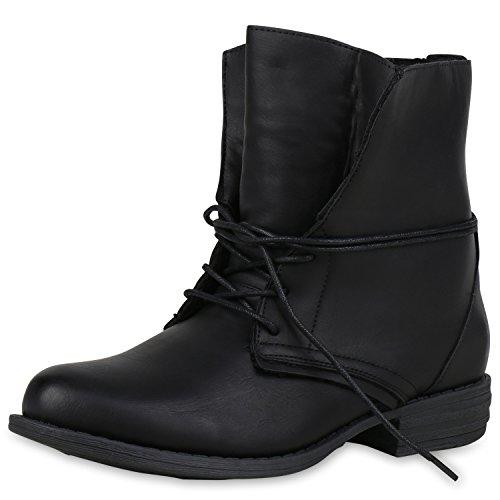 SCARPE VITA Damen Schnürstiefeletten Warm Gefütterte Stiefeletten Winter Boots 165342 Schwarz Schwarz Warm Gefüttert 39
