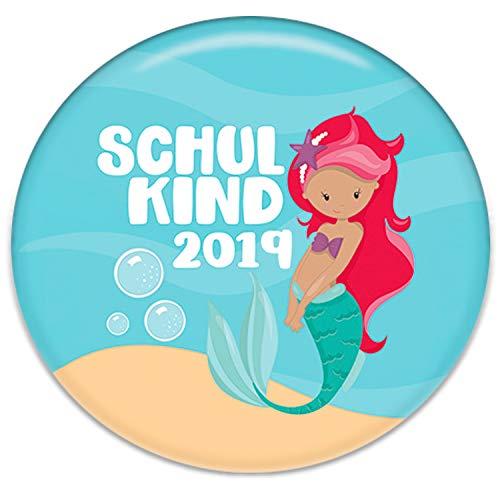 Polarkind Button Pin Anstecker Schulkind 2019 Geschenk zum Schulanfang Mädchen Meerjungfrau 38mm Handmade