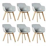 DORAFAIR 6er Set Sessel Skandinavisch Wohnzimmerstuhl Modern Esszimmerstühle mit solide Buchenholz Bein, Retro Design Stuhl für Büro Lounge Küche, Grau
