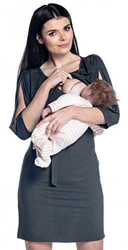 Zeta Ville -Premamá vestido de lactancia en capa hombros recortes - mujer - 432c (Grafito, EU 42, XL)