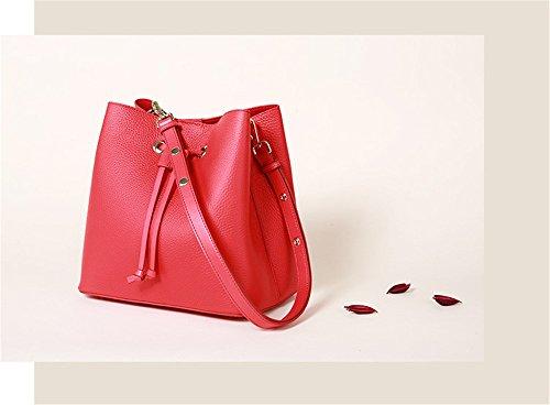Muster Aus Handtaschen Und Rindsleder Tunnelzug Damentasche Rot Herbst Lychee Schultertasche XinMaoYuan Winter Leder 8xqfBnA