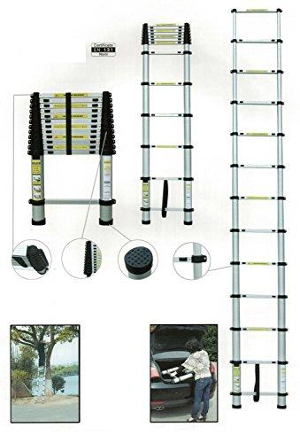 Teleskopleiter Ausziehleiter aus Aluminium Teleskop Mehrzweckleiter, bis 3,80m Anlegeleiter