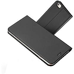 Radoo Coque iPhone 6,Coque iPhone 6S, Ultra Mince en Cuir PU Premium Housse à Rabat Portefeuille Étui de Bumper Folio à Clapet pour Apple iPhone 6 / iPhone 6S 4,7 Pouces (Gris-Noir)