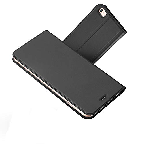 one 6 Hülle, Premium PU Leder Handyhülle Brieftasche-Stil Magnetisch Klapphülle Etui Brieftasche Hülle Schutzhülle Tasche für Apple iPhone 6/6S 4.7 Zoll (Schwarz grau) ()