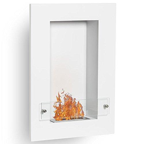 Vertigo–White Wall Mounted Bio Ethanol Fireplace (Pan,)