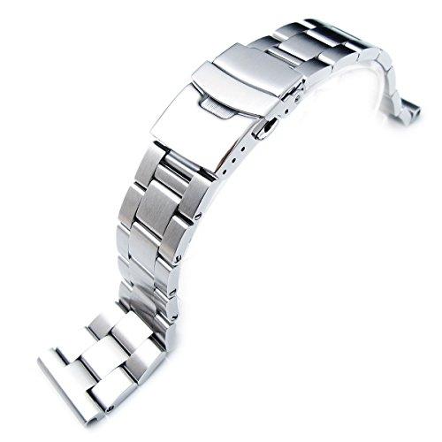 Uhrband von Super Oyster, 20 mm, massiver Edelstahl 316L, gerades Ende - Schrumpfschlauch Bands