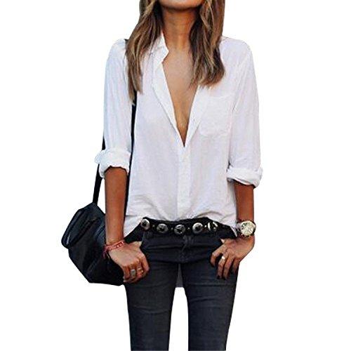 Minetom Donne Moda Maniche Lunghe Camicetta Casual Club Cime Sciolto Camicie Bianco 40