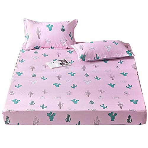 le Pflanzendruck Polyester Bettwäsche Set Kissenbezug Spannbetttuch Pink(1#) ()