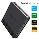 Beelink BT3 Pro II Mini PC Computer Windows 10 4 Go de RAM DDR3 + 64 Go de ROM eMMC Processeur: Intel x5-Z8350 WiFi Double 2.4G+5.8G 1000 Mbps Prise en Charge 4K H.265 BT Assemblé Couleur Noire