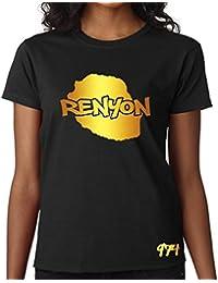T-shirt Femme Réunion 974 Renyon Noir et Or Métallisé