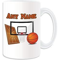 Regalo personaliseitonline - gran taza de baloncesto (Diseño del tema, blanco) - nombre/mensaje en su única taza - NBA slam dunk balcones