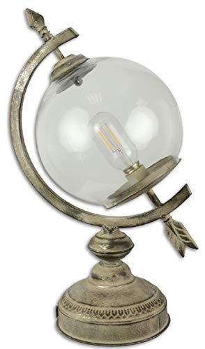 Casa Padrino Jugendstil Tischleuchte Sonnenuhr Antik Cremefarben 26 x 19,6 x H. 44 cm - Batteriebetriebene Zinn Lampe