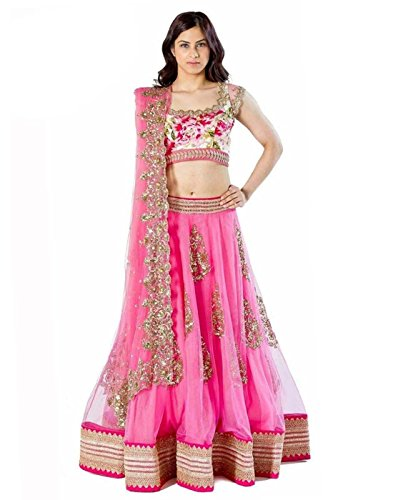 Surat Tex Pink Color Semi-Stitched Embroidered Silk Lehenga Choli With Silk Top-K694LAC2840