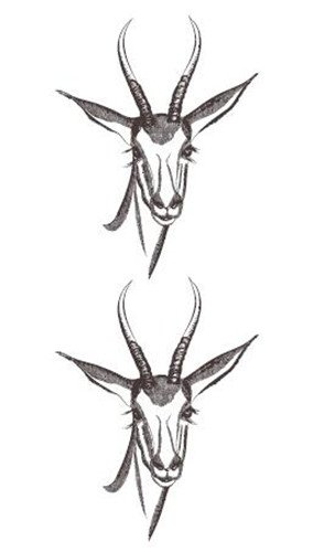 Kostüm Gazelle - wasserdichte Temporäre Gefälschte Tätowierung Aufkleber Grau Gazelle Schaf Ziege Kurze Tiere Design Body Art Make Up Tools10.5X6Cm8Ps