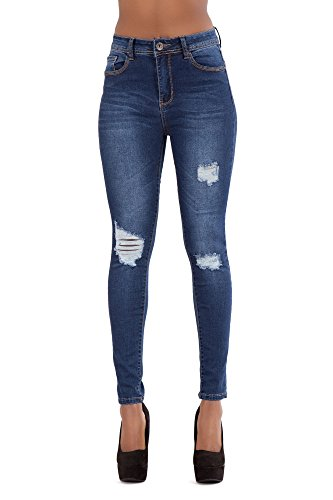 LustyChic New Women's High Waisted Blue Faded Denim Jeans Ladies Ripped Fabric Skinny Slim Fit Stretch Jeans