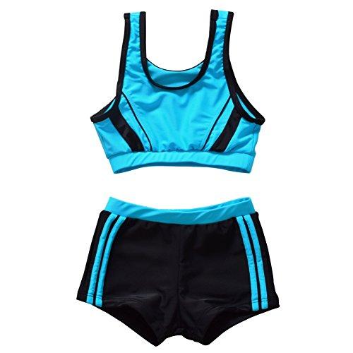 Mädchen Bademode Competitive 2 Stück Bikini Set Top und kurzer Badeanzug für 5-12 Jahre alt Little Kid