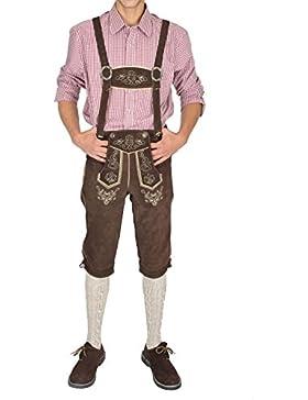 Herren Trachten Lederhose Kniebund mit Träger 100% Echt Rindvelourleder dunkelbraun - trachtenlederhose herren...