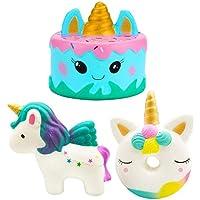 Buabi Pack 3 Squishy Grandes Unicornio + Tarta + Donut - Muñecos antiestrés para apretar Que