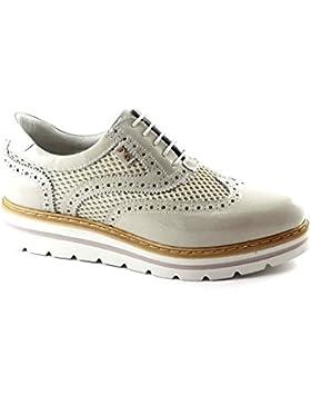 Nero Giardini 17212 crema beige scarpe donna pelle francesina inglese lacci