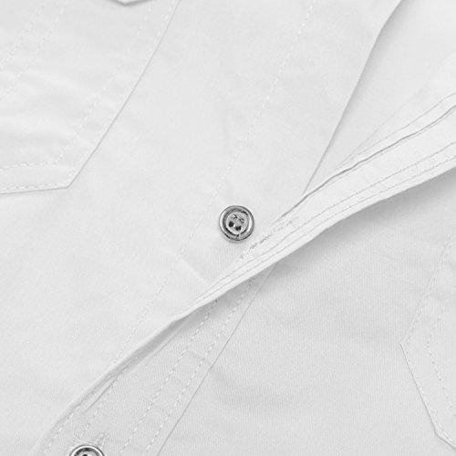 Kuson Herren Langarm Hemd Outdoorhemd Hemden Freizeit Bügelleicht Baumwolle Button-down Weiß