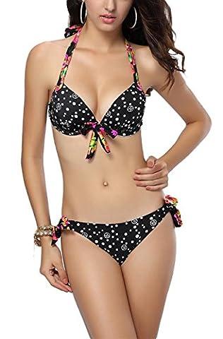 Aivtalk - Sexy Femme Maillot de Bain Rembourré Imprimé à Pois Bikini Push-up à Bretelle Réglables 2 pièces Charmant Trikini Triangle Swimwear Vintage Trikini Sport Nager Plonger - M - Noir