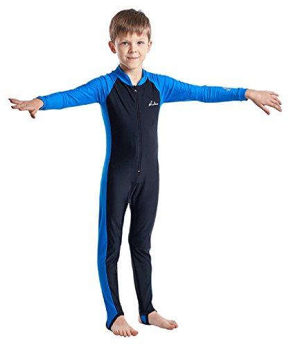HaoLian Jungen Badeanzug Kinder Schwimmanzug Einteiler Tauchanzug UV-Schutz Langarm Wetsuit für Wassersport-5-12 Jahre Alt