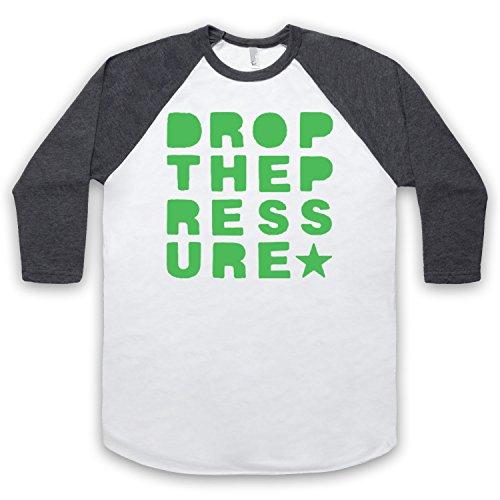 Inspiriert durch Mylo Drop The Pressure Unofficial 3/4 Hulse Retro Baseball T-Shirt Weis & Dunkelgrau