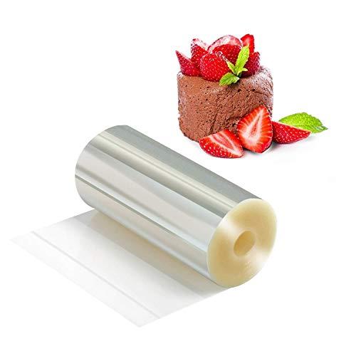 HOMEWINS Colliers à Gâteau Rhodoïd Rouleau Ruban Bord en Film Cercle de Pâtisserie Transparent Feuille pour Mousse Chocolat Décoration de Gâteaux (8CM×10M×125 Micron)
