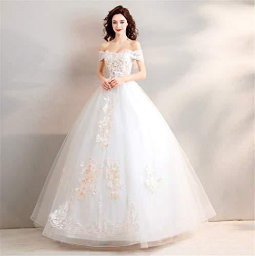 L-ELEGANT Hochzeitskleid, Europa und Amerika Einfache Qidi Prinzessin hochwertige Spitze stereoskopische Blume Tube Top Dinner Kathedrale Kleid XXXL -