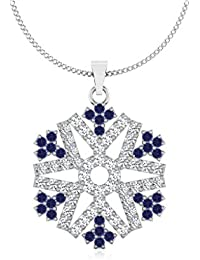 IskiUski  White Gold, Diamond And Blue Sapphire Pendant For Women