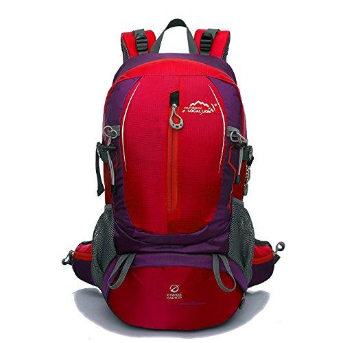 Cuckoo 35L Wandern Daypack Wasserdichte Rucksacktasche Outdoor Sport Rucksack für Klettern Bergsteigen Camping Angeln Reisen Radfahren Skifahren mit Regen Abdeckung Rot