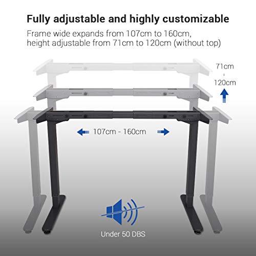 Flexispot E2B Höhenverstellbarer Schreibtisch Elektrisch höhenverstellbares Tischgestell, passt für alle gängigen Tischplatten. Mit Memory-Steuerung und Softstart/-Stop. (Tischgestell-2 Fach Schwarz) - 3