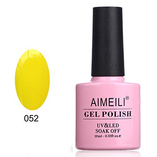 AIMEILI UV LED Gellack ablösbarer Gel Nagellack Gelb Gel Nail Polish - Neon Canary Yellow (052) 10ml