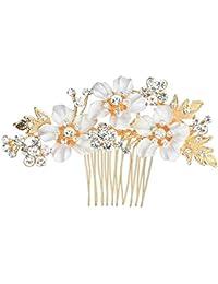 Peine de pelo nupcial, pelo de la boda peines laterales, cabeza de novia PIN casco, perlas de cristal de la novia de flores de la Dama