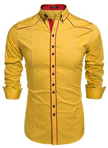 Coofandy Chemise Homme Manche Longue Coton Contrasté Col Italien Boutonné Casual Taille S-XXXL Or