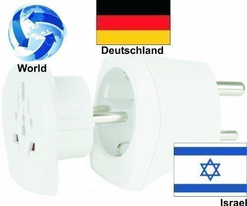 Design Reiseadapter Welt auf Israel + Deutschland (2er-Set, Steckdosenadapter IL, Kombistecker)