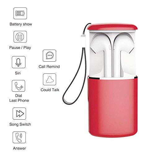 NBZH Drahtloses Bluetooth-Headset 5.0, I9s TWS Sports Bilateral Stereo, Mit High-Definition-Mikrofon, Support for Siri 400 Mah,Red Touch High-definition-stereo
