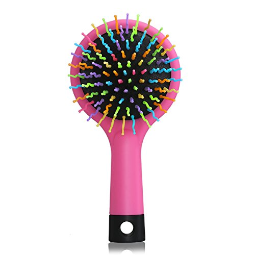 LEORX Rainbow Volumen Brush Magic Hair Curl cepillo de peine recto con espejo (Rosa)