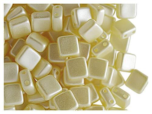 40pcs Tile Beads - Perles de verre pressées tchèques Carrelage 6x6x2.9mm, deux trous, Pastel Cream