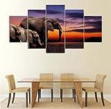 BAOSHOU Wohnkultur gemalt auf Leinwand Bild 5 Panel riesigen Elefanten und an der Wand