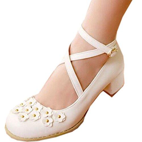 Partiss Damen Sweet Lolita Wedge Shoes Japanisch High-top Casual Lolita Pumps Herbst Fruehling Hochzeit Tanzenball Maskerade Cosplay Diestmaedchen Blumen Platform Pumps Lolita Schuhen Weiß