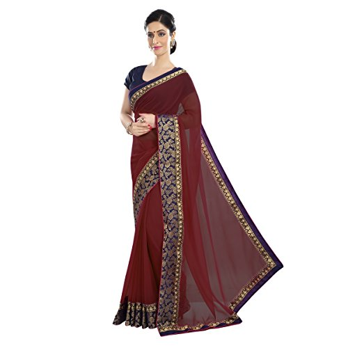 D7 Fashion Womens Maroon Color Sparkle Lace Borderd Chiffon Saree With Sparkle...